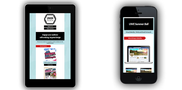 An example of the website running on mobile devices showing responsive design.